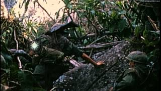 Soldiers of the 25th Infantry Division of the US Army climb down the Nui Ba Dev M...HD Stock Footage