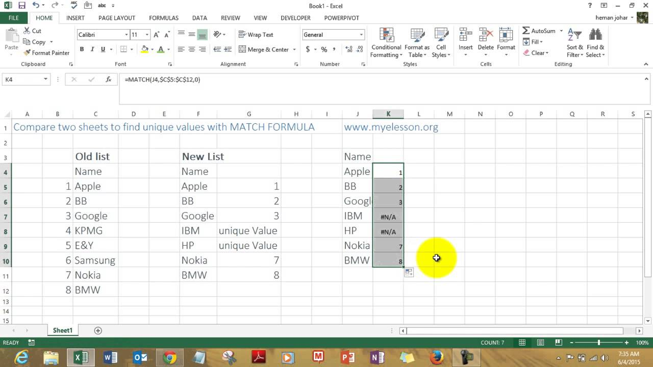 Compare 2 lists in Excel Hindi - YouTube