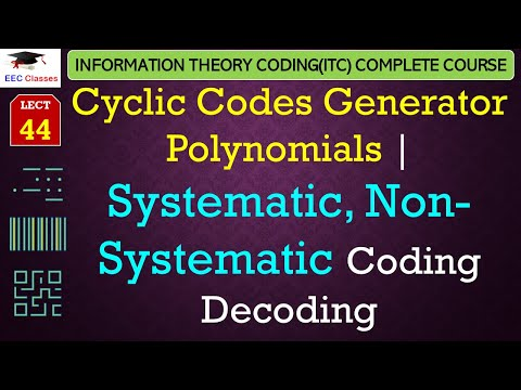 Cyclic Codes, Generator Polynomials, Systematic, Non-Systematic Coding Decoding with Example