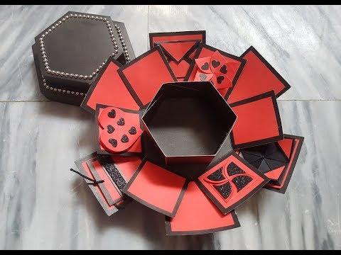 DIY | Hexagon Explosion Box Tutorial | How to make Explosion box | Paper Gift Box | Handmade Gift .
