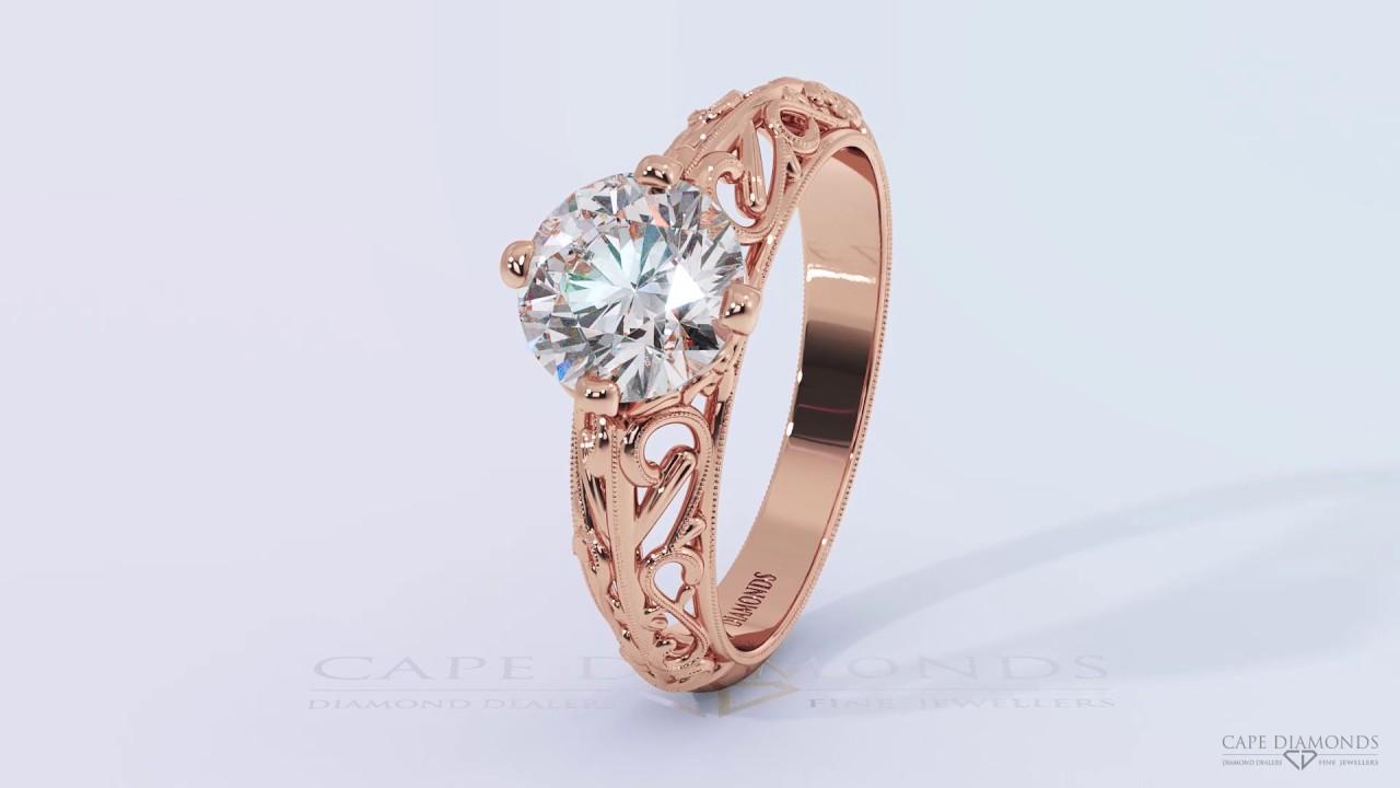 Antique rose gold filigree diamond ring South Africa Diamonds YouTube