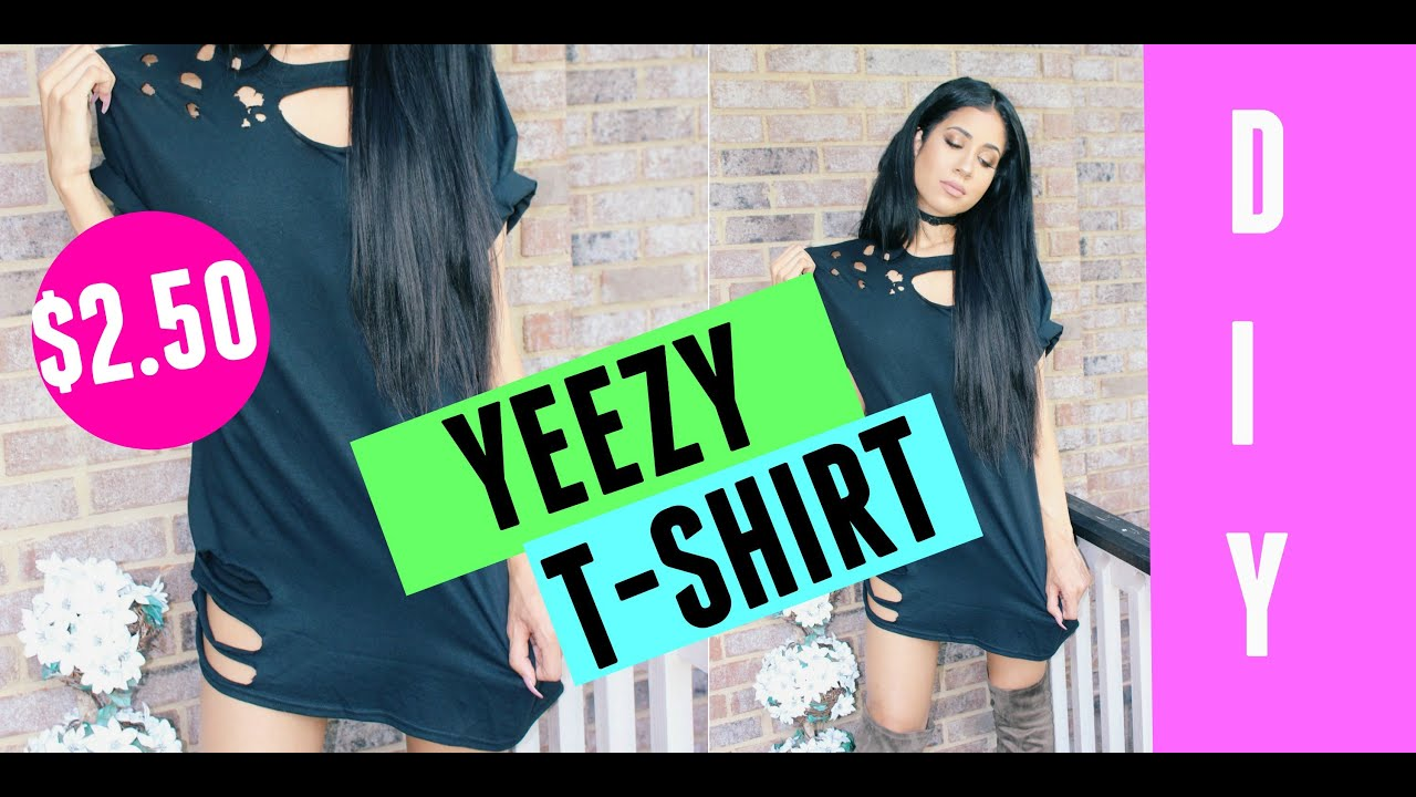 Diy kanye west ripped distressed t shirt lexi noel youtube for How to make a distressed shirt
