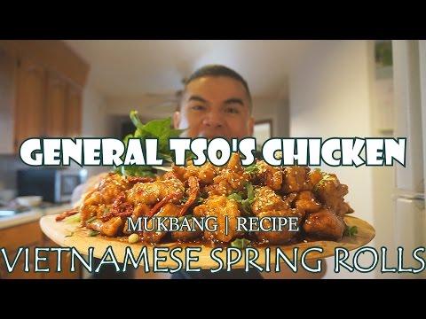 GENERAL TSO'S CHICKEN & VIETNAMESE SPRING ROLL | MUKBANG | QT
