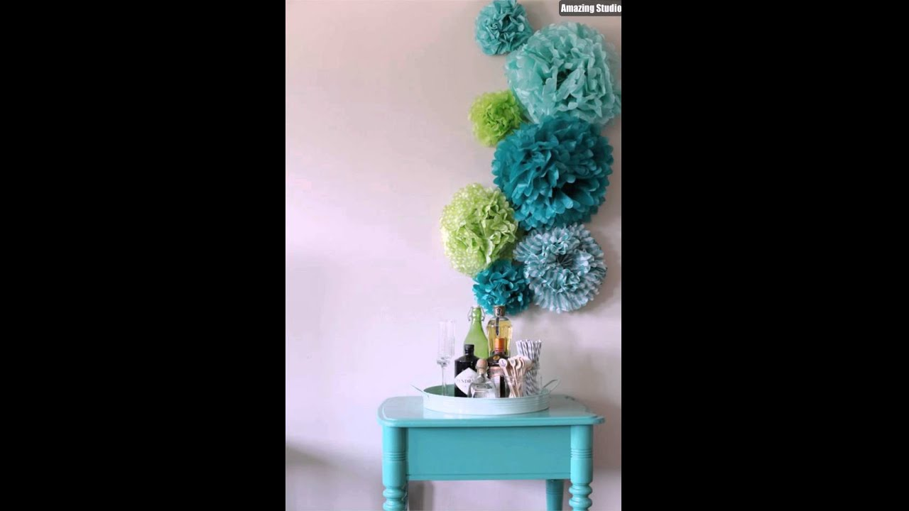 DIY Tissue Paper Pom Poms Wall Art - YouTube