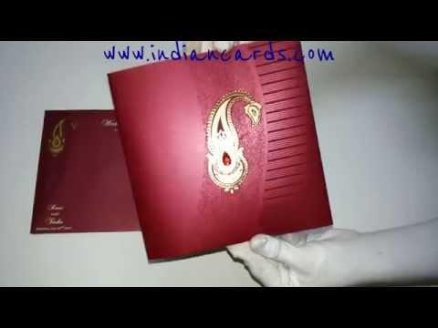 W-4365,250 GSM, Shimmer Wine Paper, Designer Indian Wedding Invitation Cards