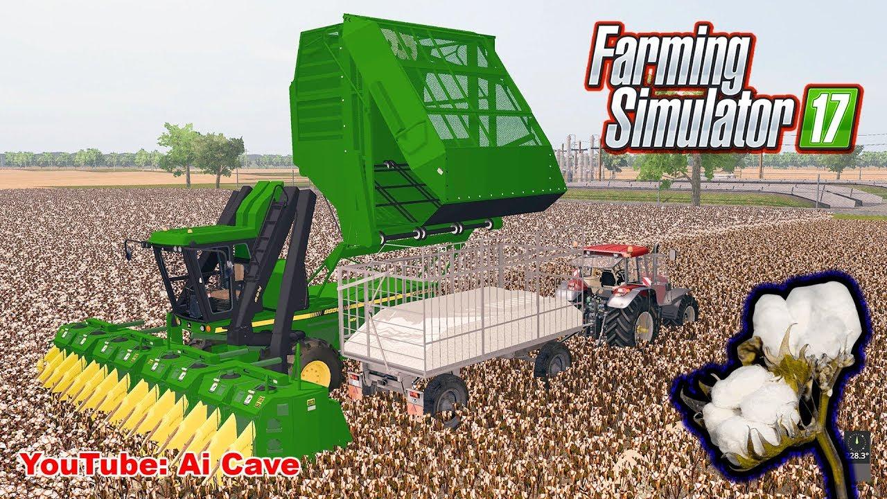 Farming Simulator 2017 - Harvesting Cotton in Missouri USA with John Deere  9950 Combine Mods