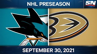 NHL Pre-Season Highlights | San Jose Sharks vs. Anaheim Ducks - September 30, 2021