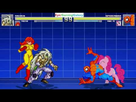 Spider-Man And Pinkie Pie VS Raizen The Demon And Firestar In A MUGEN Match / Battle / Fight