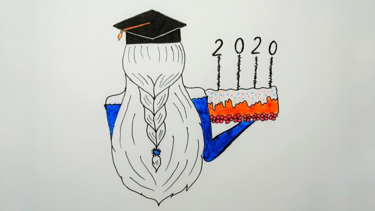 رسم سهل رسم بنت ترتدي قبعة تخرج بطريقه سهله Easy Drawing How To Draw A Girl With A Graduation Hat Youtube