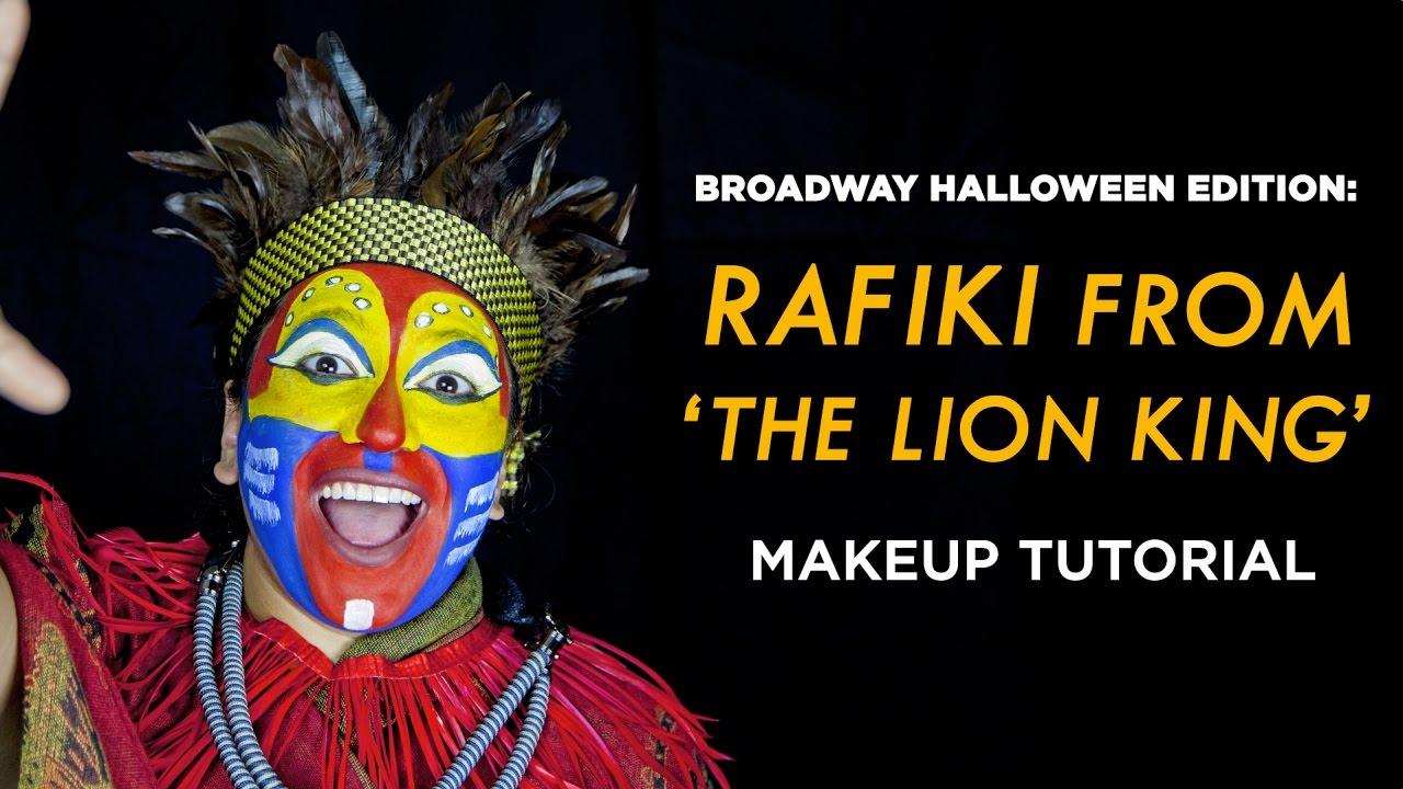 Rafiki from lion king halloween makeup tutorial youtube.