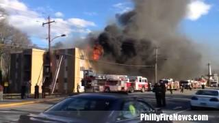 Four Alarm Apartment Building Fire in Philadelphia, PA 3-17-2015