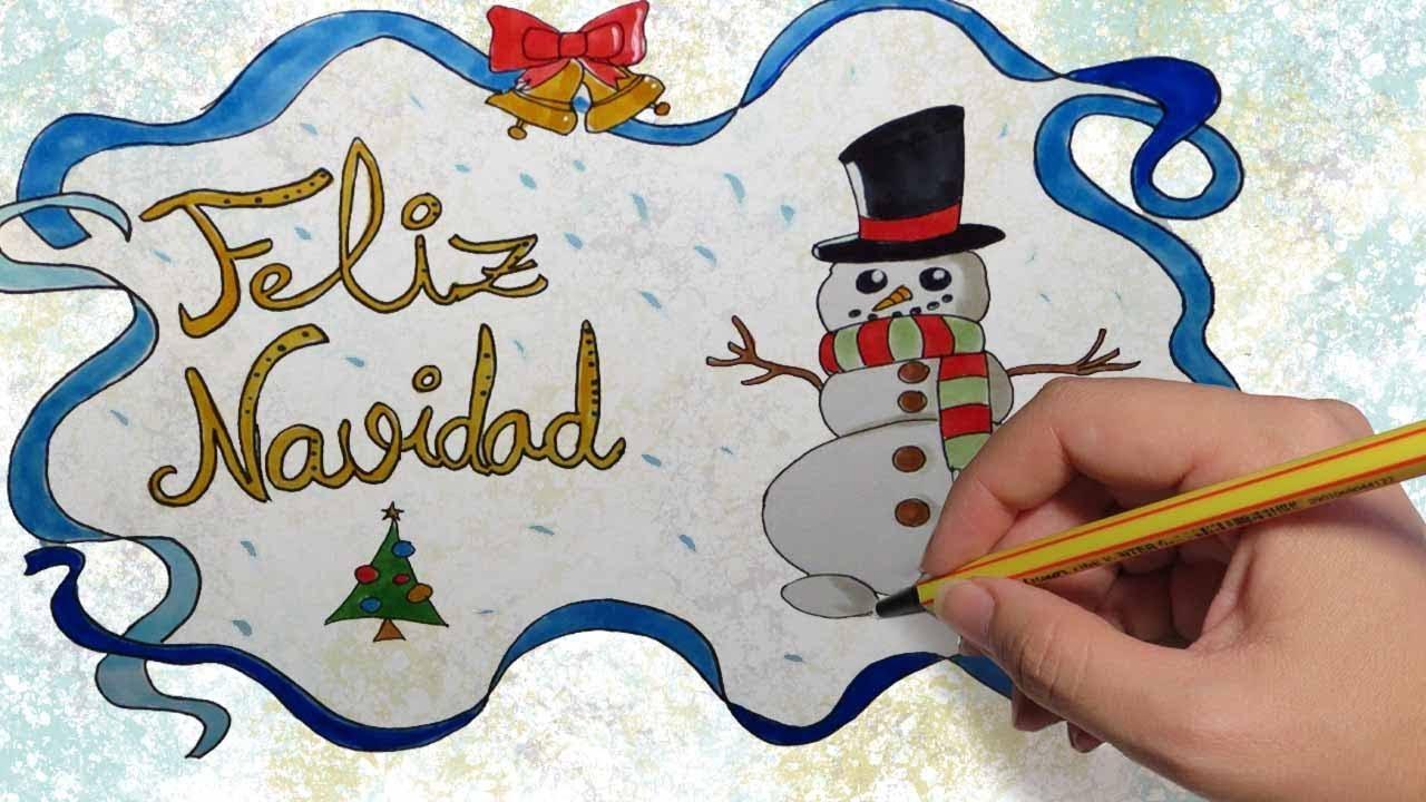 Dibujos Para Tarjetas De Navidad Para Ninos.Como Dibujar Una Tarjeta Para Navidad Paso A Paso A Color Para Ninos