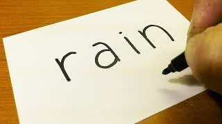 Very Easy ! How to turn words RAIN into a Cartoon for kids -  How to draw doodle art on paper