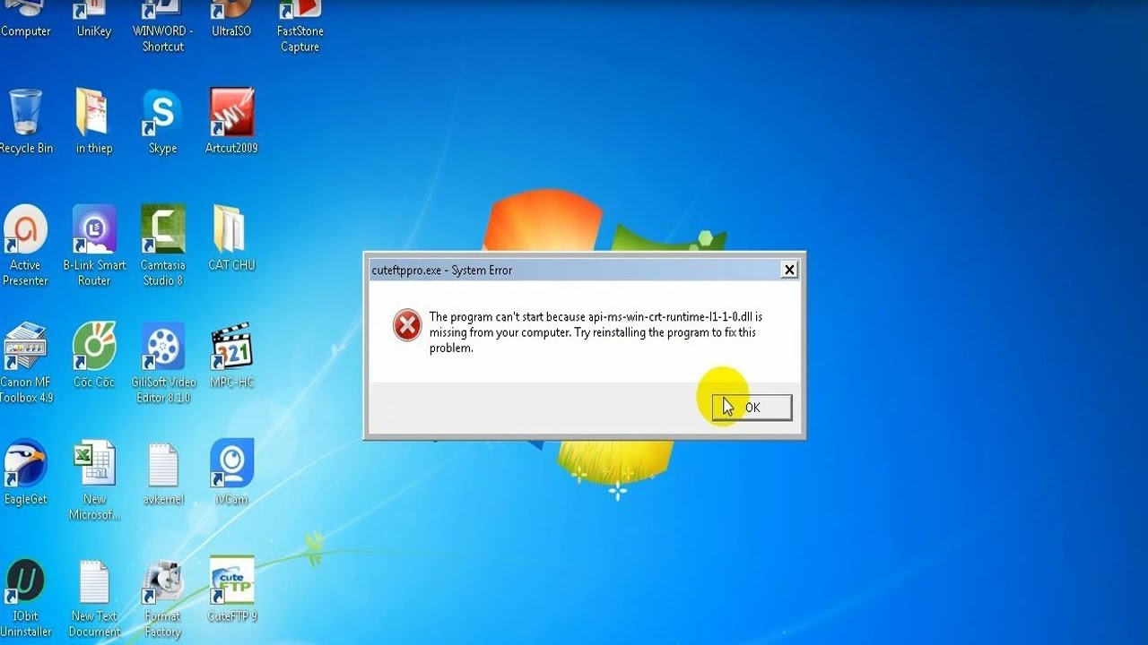 The program can't start because api-ms-win-crt-runtime- l1 ...