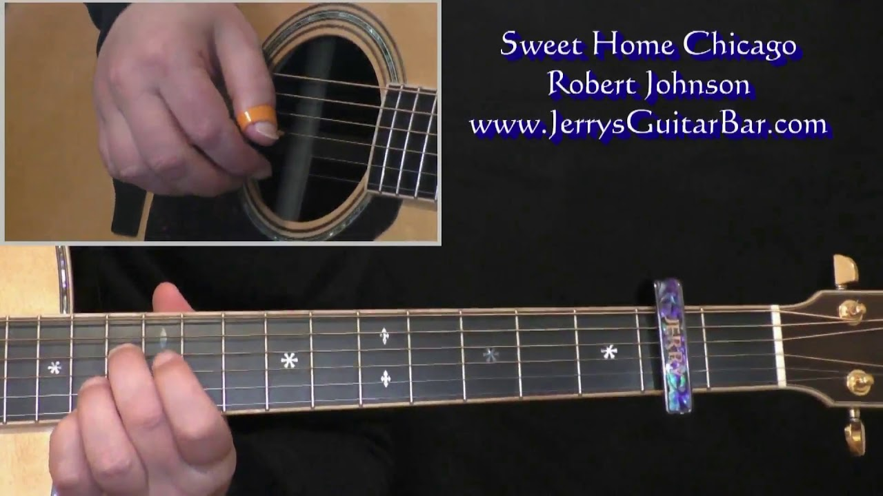The music has a strong rhythmic drive, and acoustic guitar and harmonica are the main instruments. Robert Johnson Sweet Home Chicago Intro Lesson Youtube