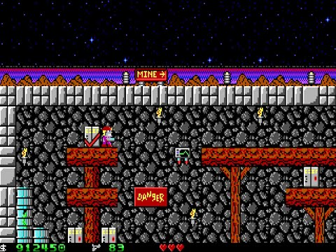 Apogee Crystal Caves I, Troubles With Twibbles, 1991. Level 1 Walkthrough