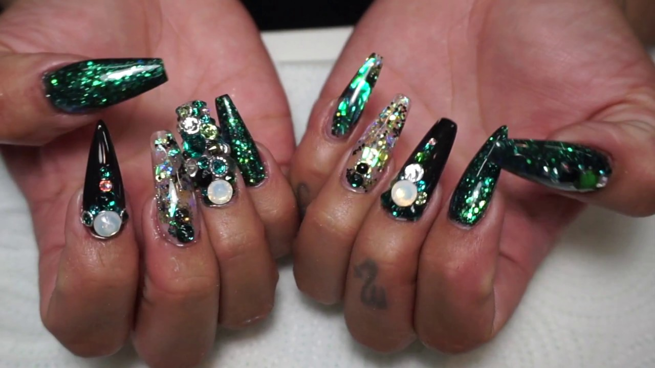 Watch me January (RAVE GREEN ACRYLIC NAILS) 2017 - YouTube