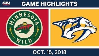 NHL Highlights | Wild vs. Predators - Oct. 15, 2018