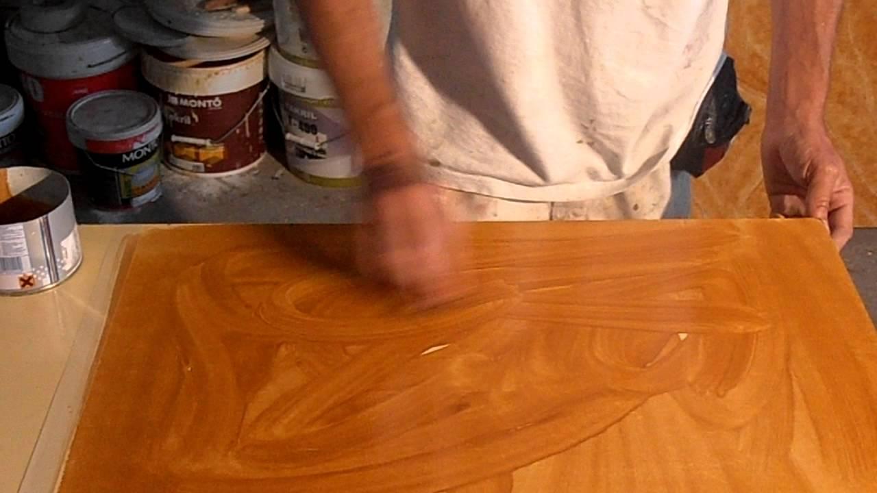Tecnica imitacion madera con goma y gasolinaAVI  YouTube