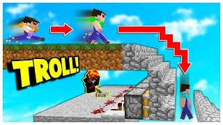 INSANE FAKE PISTON STAIR TRAP! *BEST TROLL* (Minecraft Skywars Trolling)