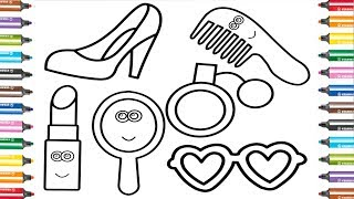 Coloring for Baby with Shoes, Lipstick, Eyeglasses, Perfume, Mirror & Comb - Coloring Pages for Kids