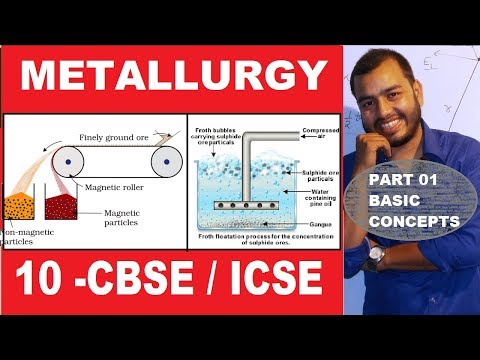 Metallurgy Basic Concepts - 10 CBSE / ICSE | Roasting and Calcination | Froth Floatation |