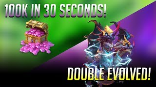 Double Evolving Demogorgon and rolling 100K gems in 30 SECONDS!
