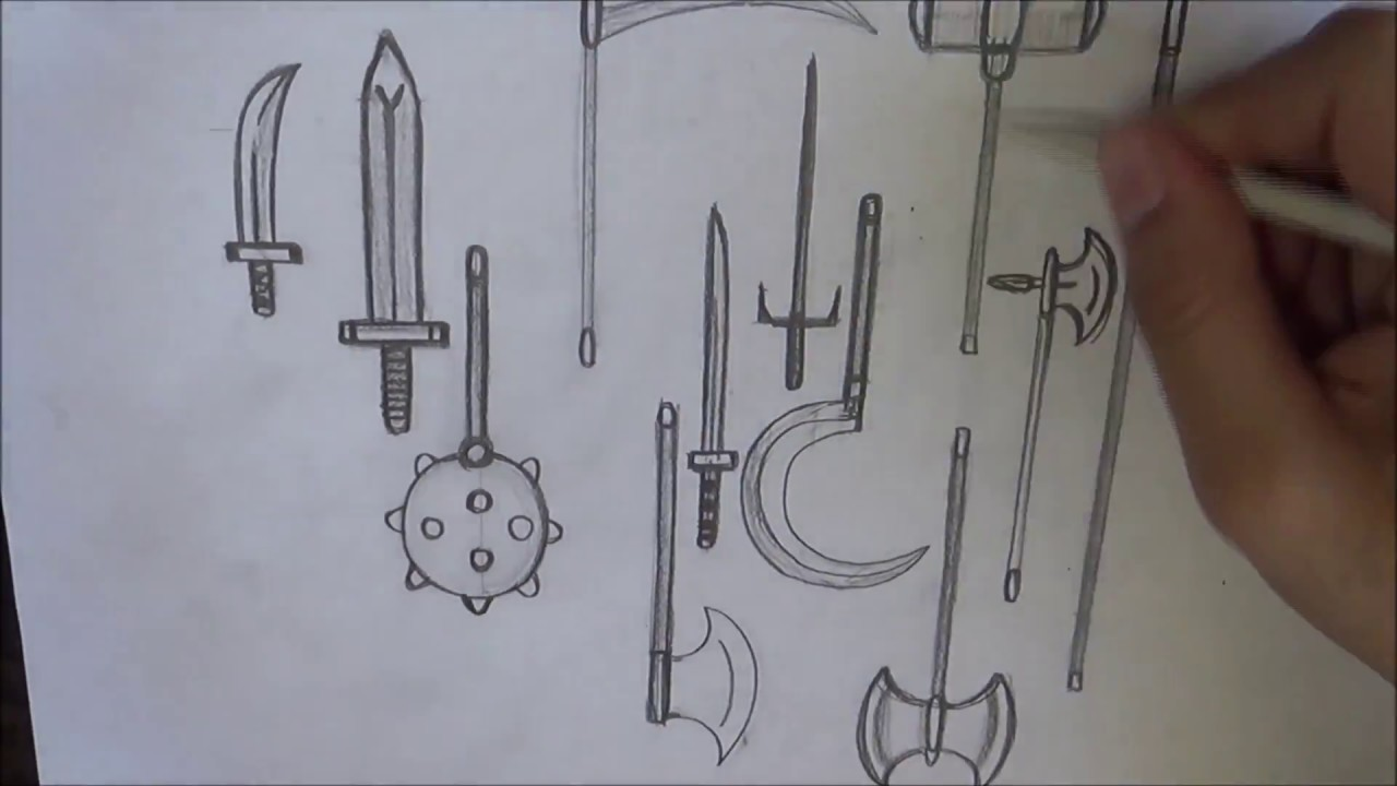 How Draw Medieval Weapons - YouTube