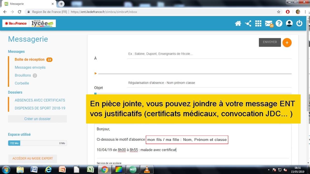 Régulariser les absences via l'ENT Lycée Sonia Delaunay