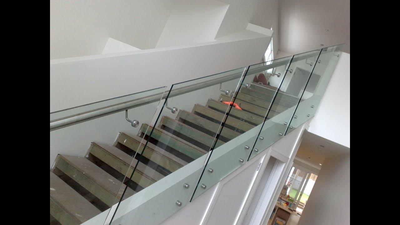 Desain Balkon Tangga Setainless Motif Railing Kaca - YouTube