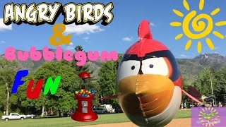 Angry Birds AIR SWIMMERS on a fishing pole!! GUMBALL Machine FUN!