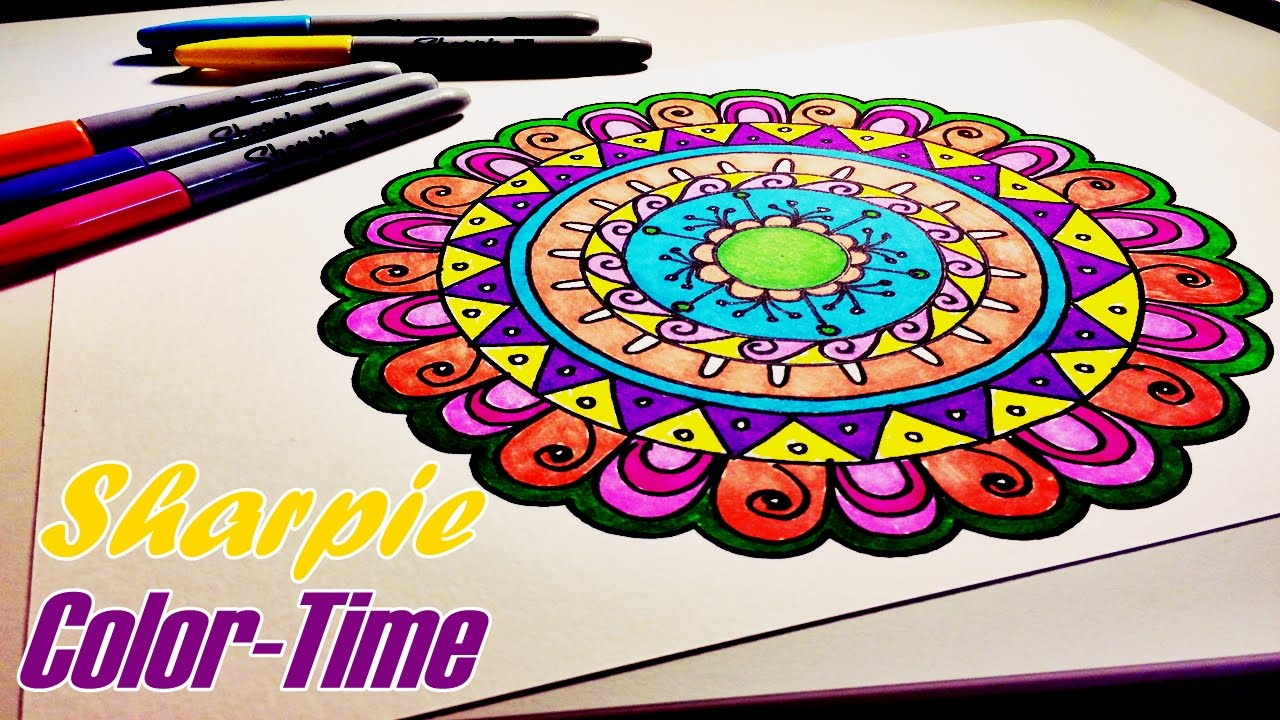 - Sharpie Color-Time Easy & Fun Mandala Part 2 - YouTube