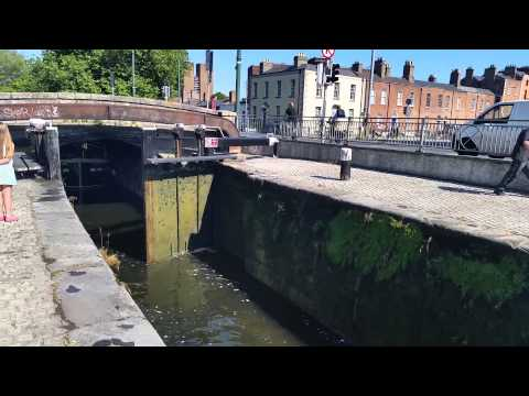 Barge Passing through Lock at  Dublin's  Grand Canal