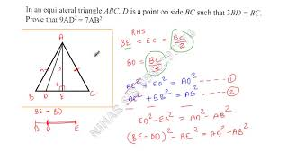 In an Equilateral triangle ABC, D is a point on side BC such that 3BD=BC. Prove that 9AD^2=7AB^2