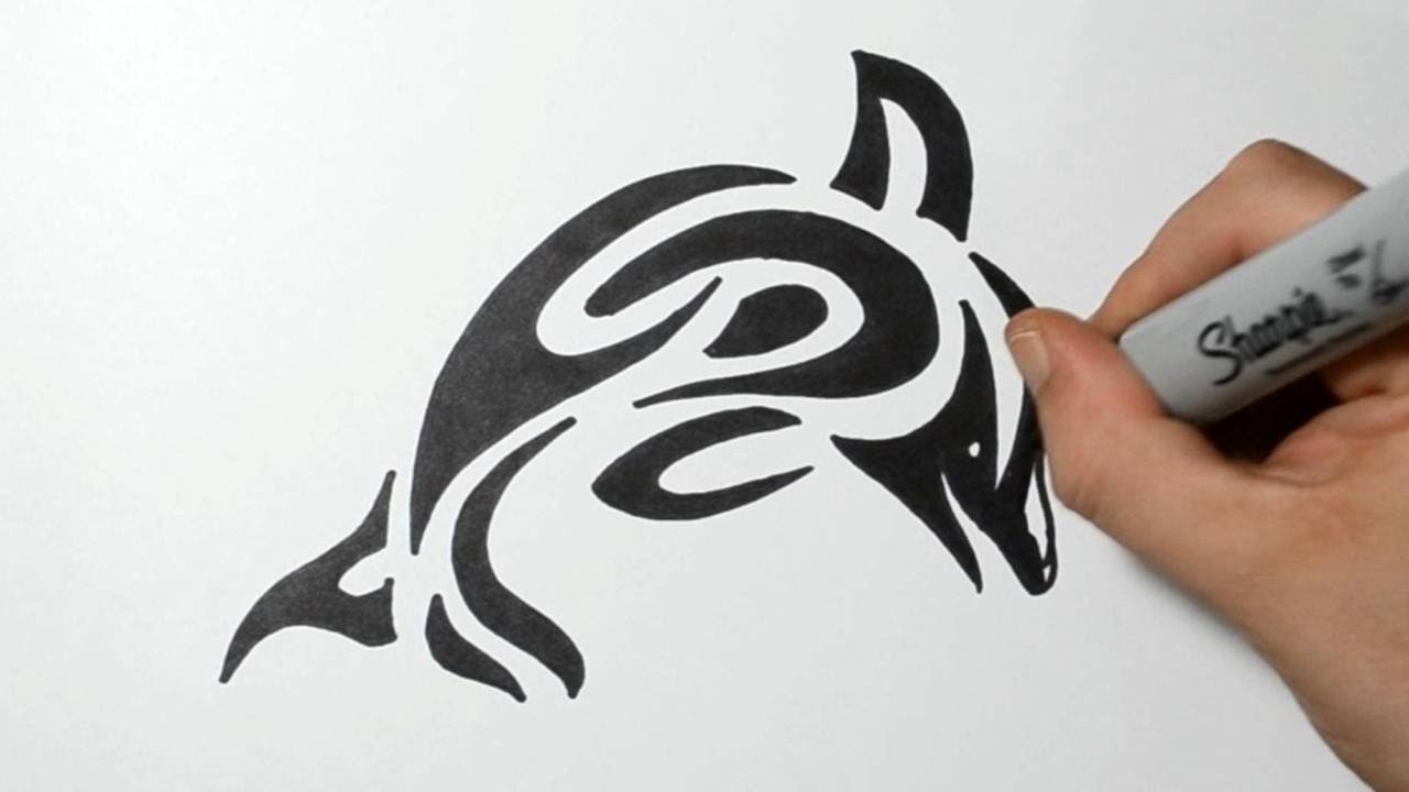 ff42b09e9 How to Draw a Tribal Dolphin - YouTube