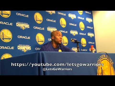 DAVID WEST, postgame Warriors-Blazers: honing in/cerebral game, Jordan Bell, dunk