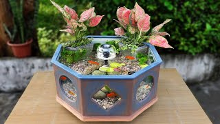 Tips For Making Octagonal Waterfall Aquarium ( Amazing Ideas from Ceramic Tile and Cement )