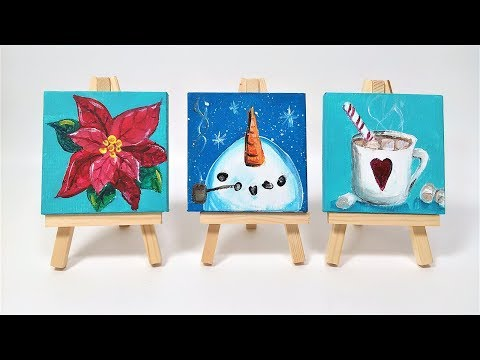 3 Mini Canvas Ornaments // Beginner Acrylic Painting Project