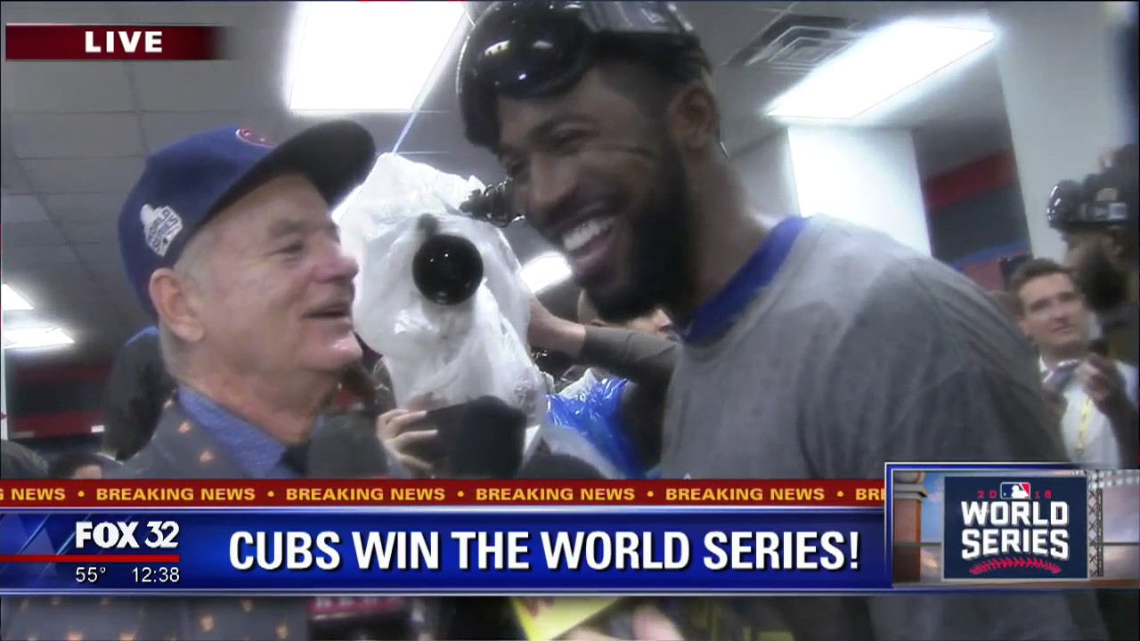 maxresdefault bill murray, dexter fowler share champagne toast after cubs win