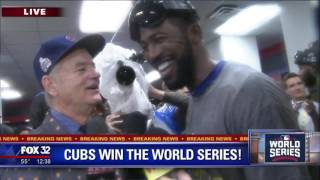 Bill Murray, Dexter Fowler share champagne toast after Cubs win World Series