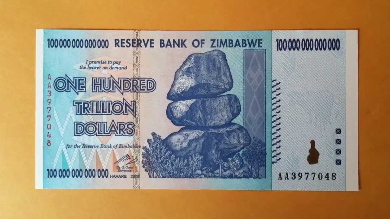 Zimbabwe S 100 Trillion Dollar Bank Note Inflation The Highest Marked Single Bill In World You