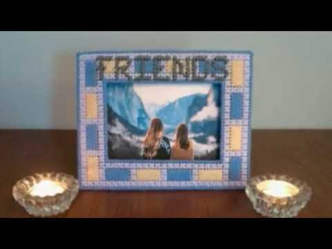 Plastic canvas picture frame - YouTube