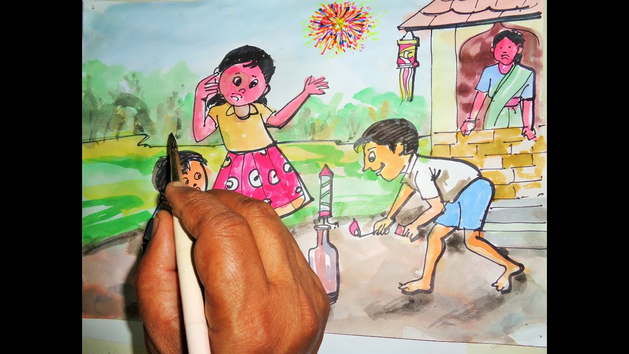 How to draw a diwali picture 2018 youtube