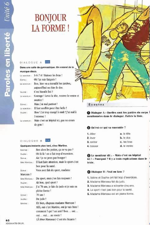 Café crème 1, unité 6, p 62, dialogue a youtube.