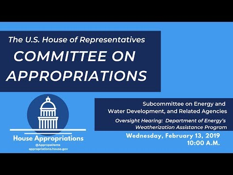 Oversight Hearing:  Department Of Energy's Weatherization Assistance Program  (EventID=108877)