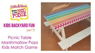 Kids Backyard DIY Fun: Picnic Table, Marshmallow Pops & Matching Game