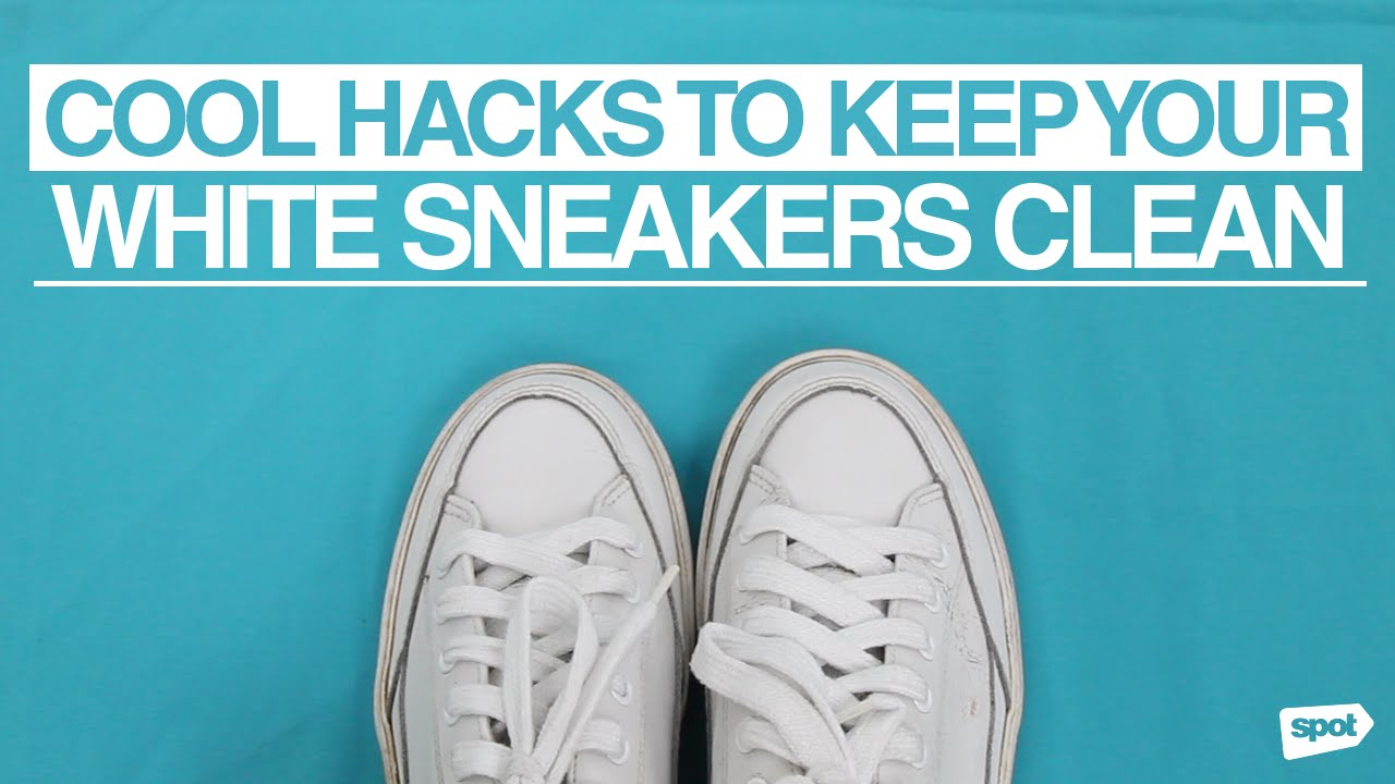 55537c307ec Cool Hacks to Keep Your White Sneakers Clean - YouTube