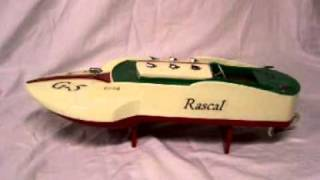R-c Craft 18in Inboard  Hydroplane Toy Wood Boat. Ito Style Japanese Toy Wood Boat