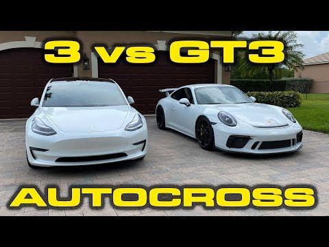 Porsche 991.2 GT3 Smokes Tesla Model 3 Performance in Autocross?