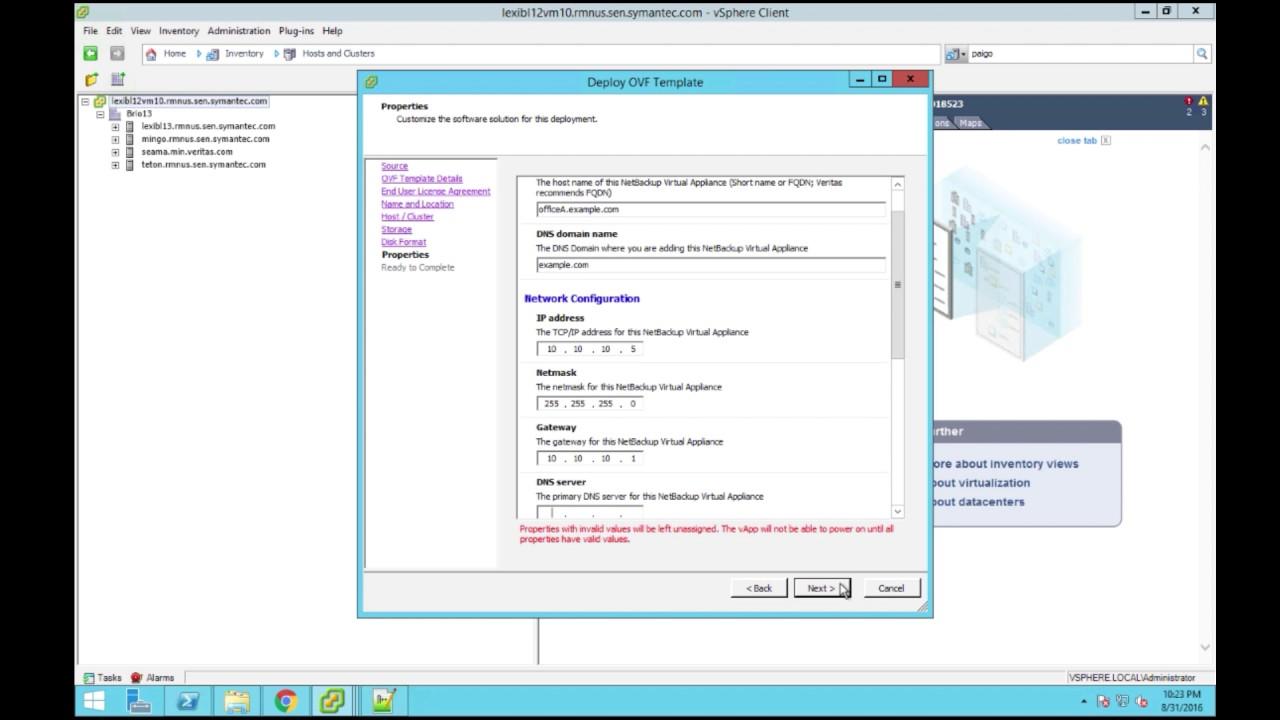 NetBackup Virtual Appliance Deployment Walkthrough